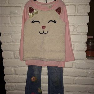Cat sweatshirt and jean set